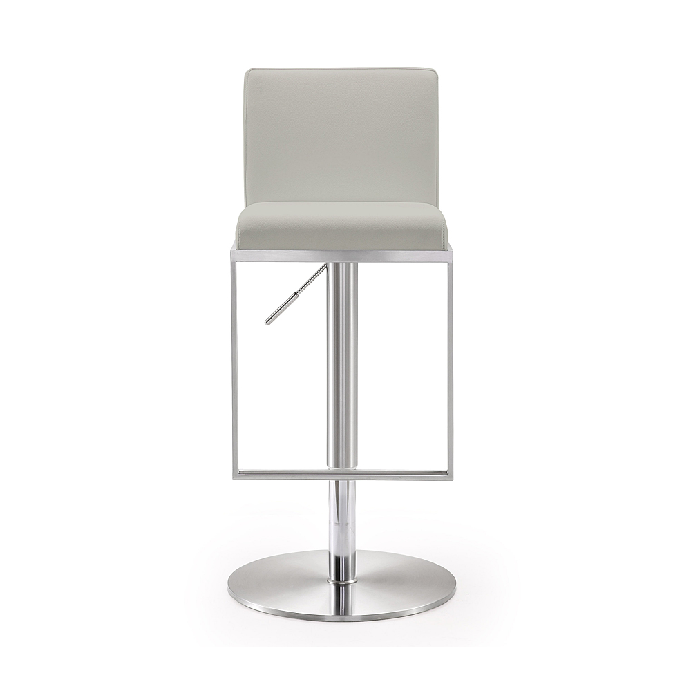 Cool Amalfi Light Grey Stainless Steel Adjustable Bar Stool Tov Furniture Metropolitandecor Caraccident5 Cool Chair Designs And Ideas Caraccident5Info