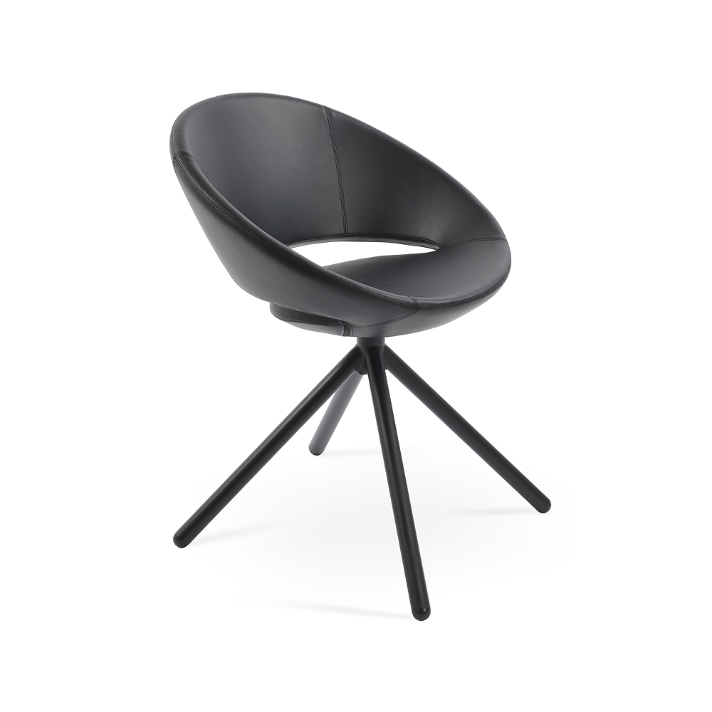 Sohoconcept Crescent Stick Swivel Dining Chair Leather Metropolitandecor