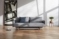Frode Sofa Bed with Upholstered Arms, Dark Wood | Innovation USA