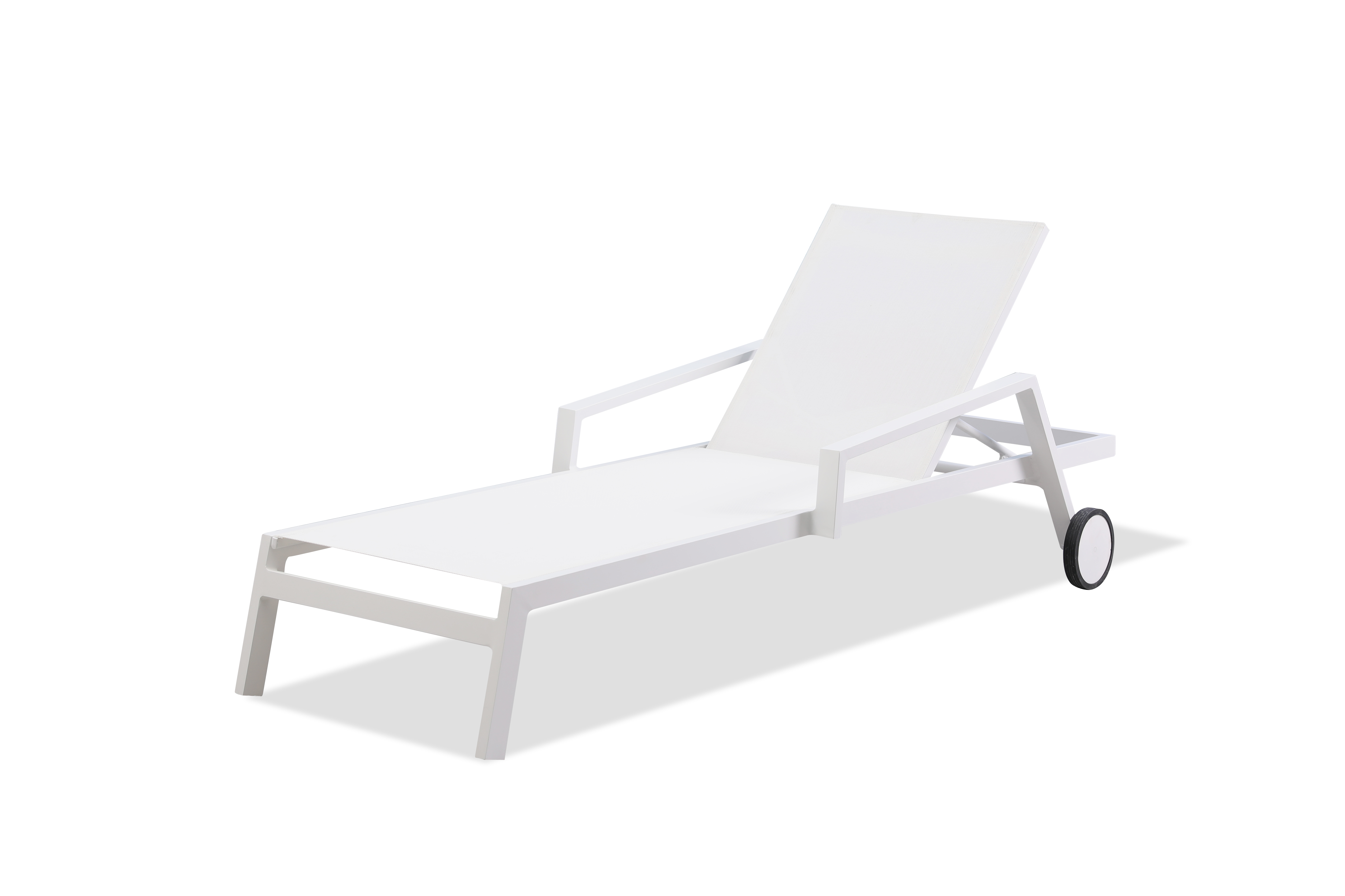 Bondi Outdoor Chaise Lounge White Two Wheels Whiteline Metropolitandecor