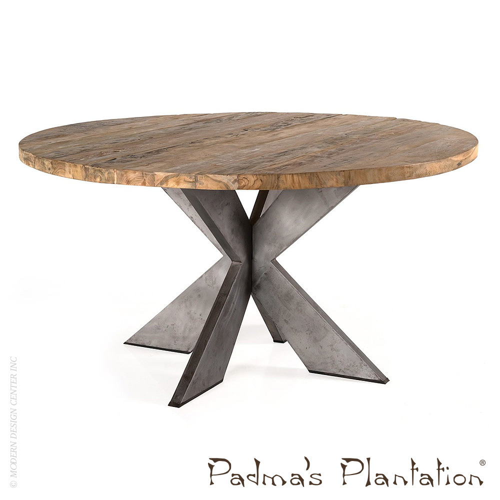 Emily Round Recycled Teak Wood Dining Table Padma S Plantation Metropolitandecor
