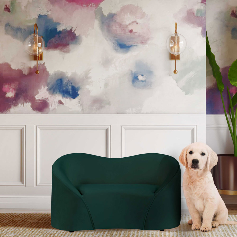 Tov Furniture Poodle Forest Green Pet Bed