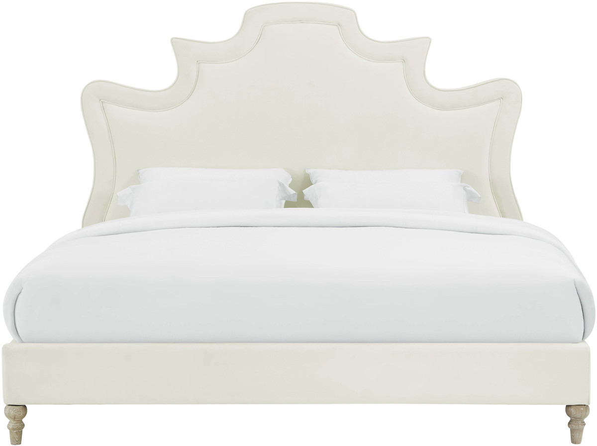 Tov Serenity Cream Velvet Bed in King