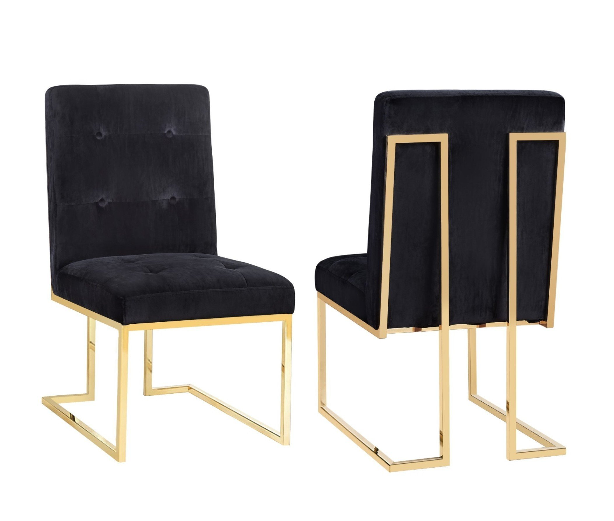 Tov Akiko Black Velvet Chair - set of 2