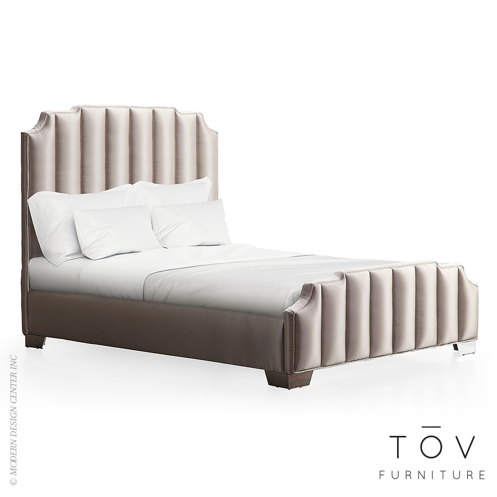 Natalie Beige Linen Bed in King | Tov Furniture | MetropolitanDecor