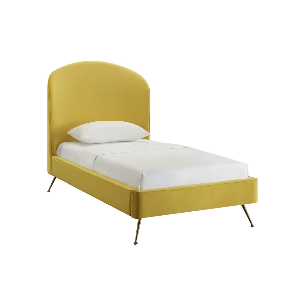 Tov Furniture Vivi Burnt Gold Velvet Bed in Twin