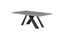 Amici Dining Table in Grey Oak & Black Steel | B-Modern