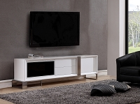 Entertainer TV Stand, White High-Gloss and Stainless Steel | B-Modern