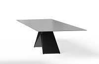 Maestro Dining Table in Grey Glass Top Black Steel Base | B-Modern
