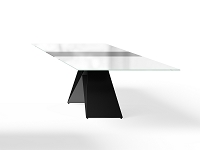 Maestro Dining Table, White Glass Top / Black Steel Base | B-Modern