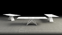 Maestro Dining Table, White Glass Top / White Steel Base | B-Modern