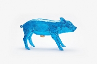 Reality Bank in Form of Pig Electric Blue Chrome | Areaware