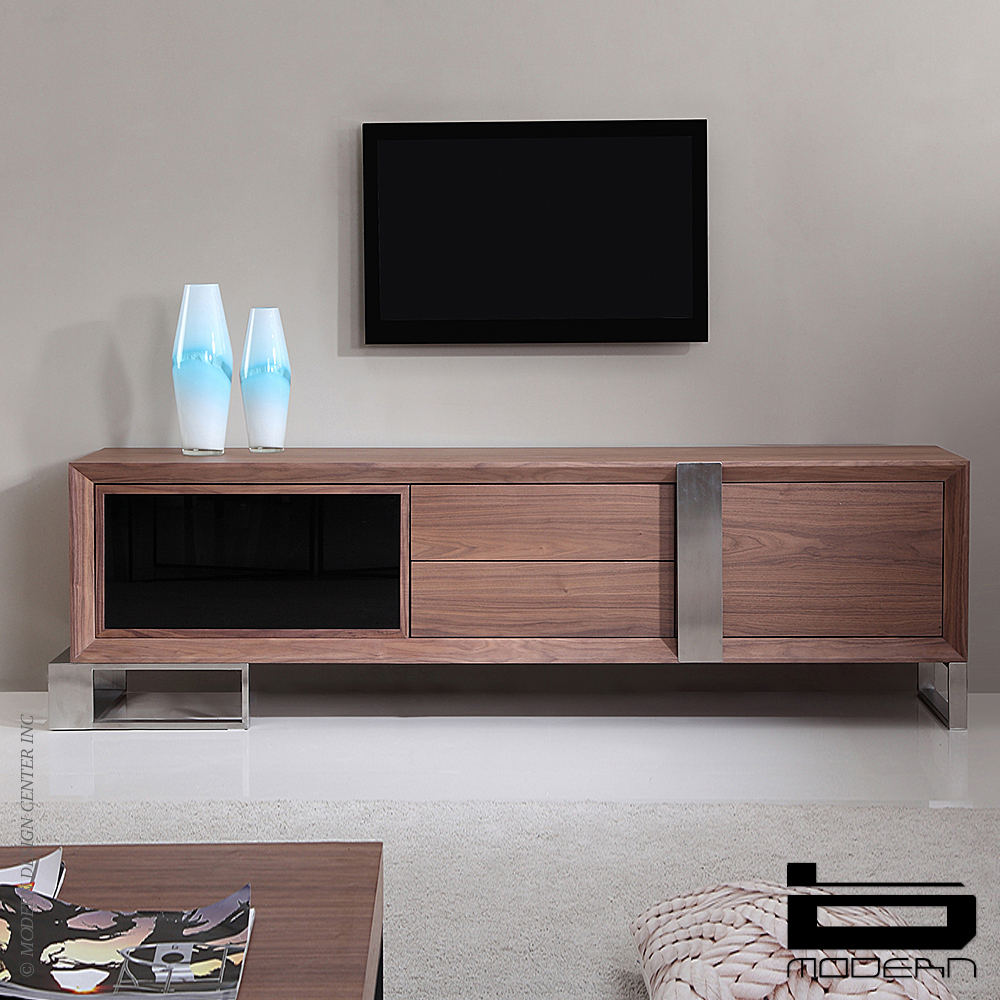 Entertainer TV Stand, Walnut & Stainless Steel | B-Modern