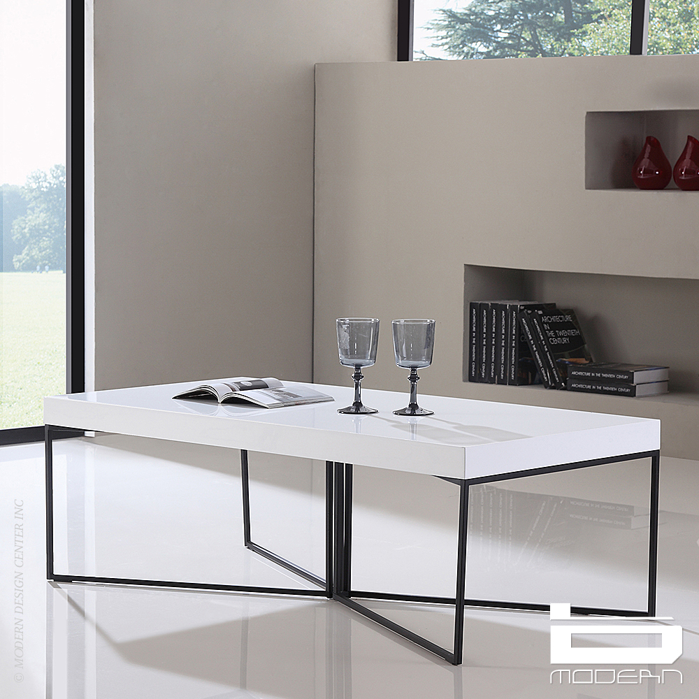 Mixer Coffee Table, White and Black Steel | B-Modern