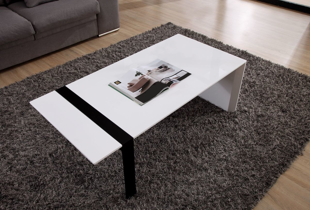 Director Coffee Table, White and Black Steel | B-Modern