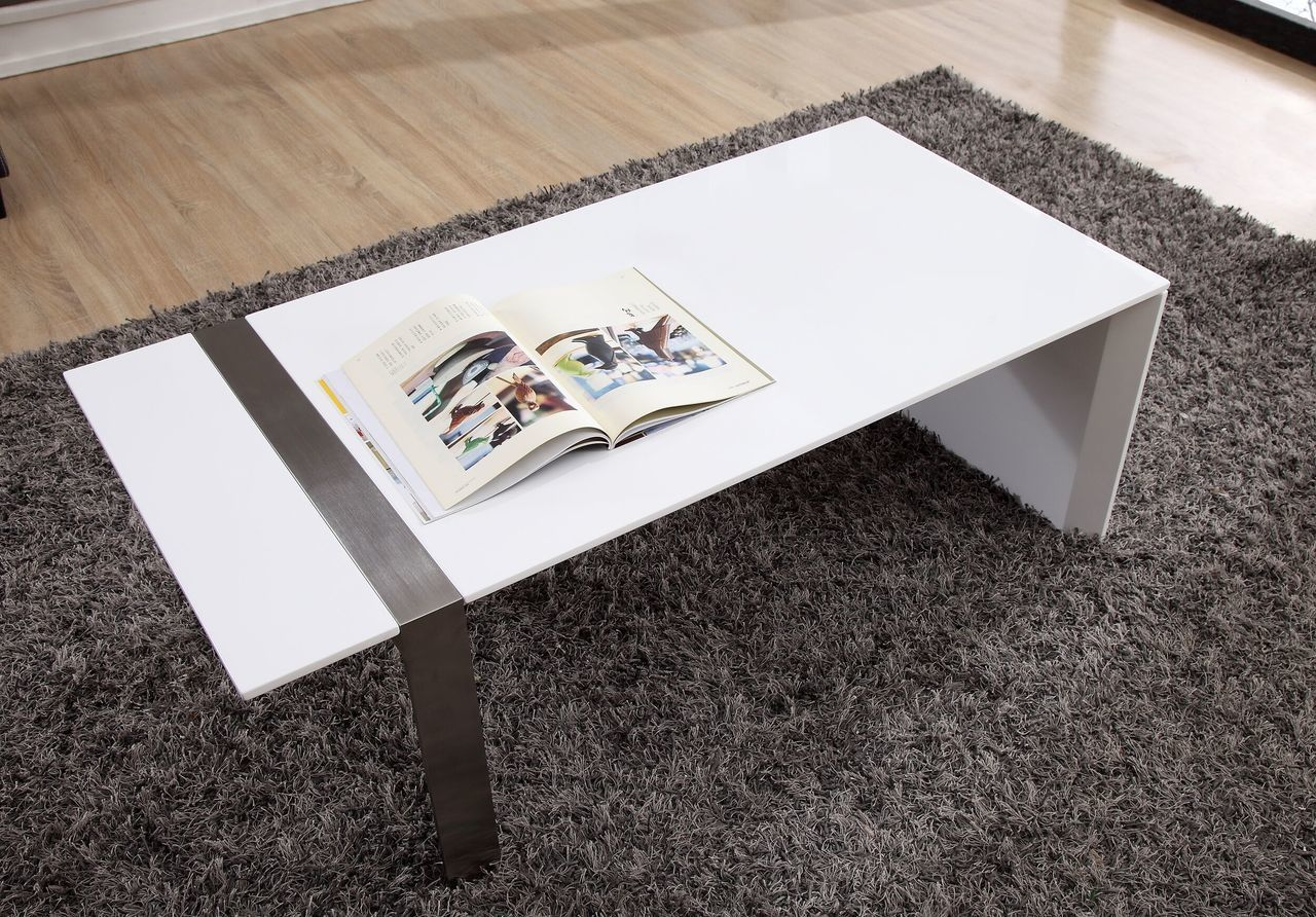 Director Coffee Table, White and Stainless Steel | B-Modern