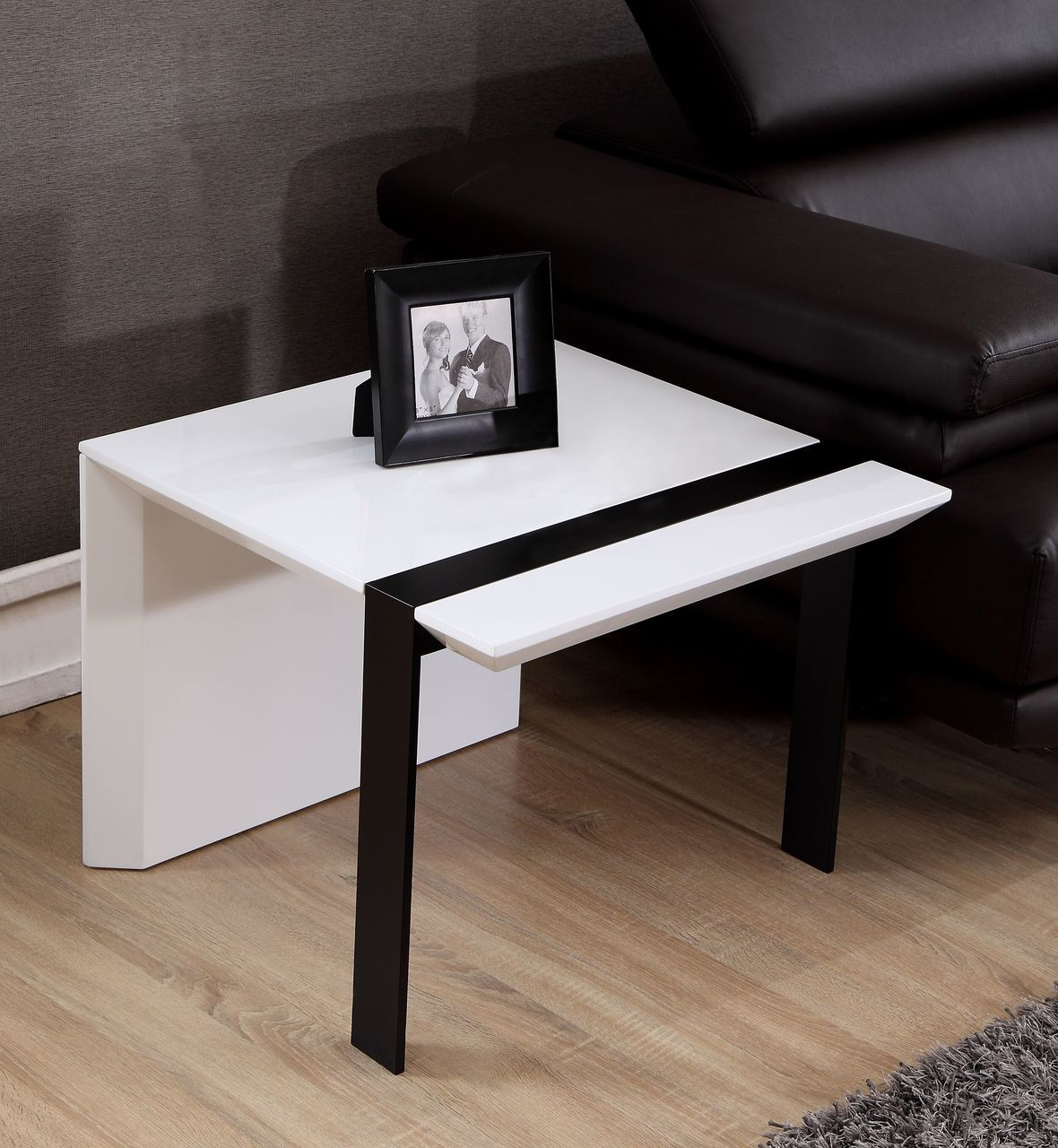 Director End Table in White and Black Steel | B-Modern