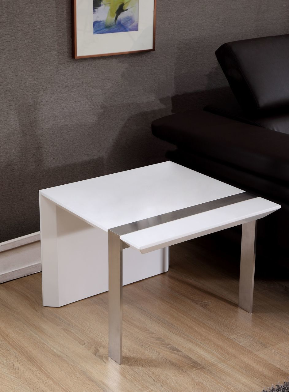 Director End Table in White and Stainless Steel | B-Modern
