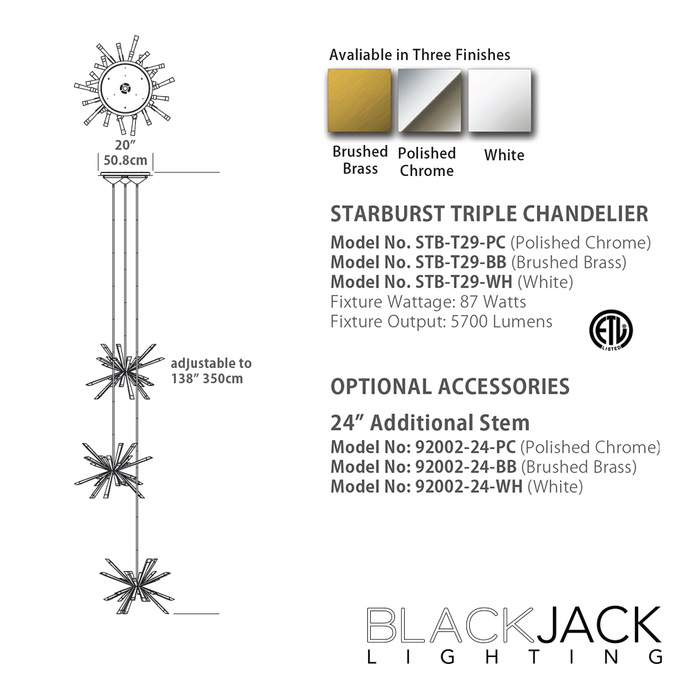 Starburst triple led chandelier blackjack lighting metropolitandecor quick view mozeypictures Images