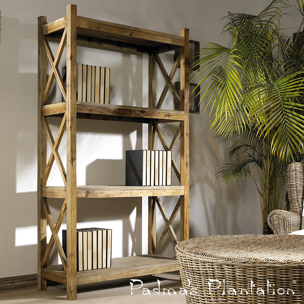 Salvaged Wood Cross Rack Book Case | Padma's Plantation