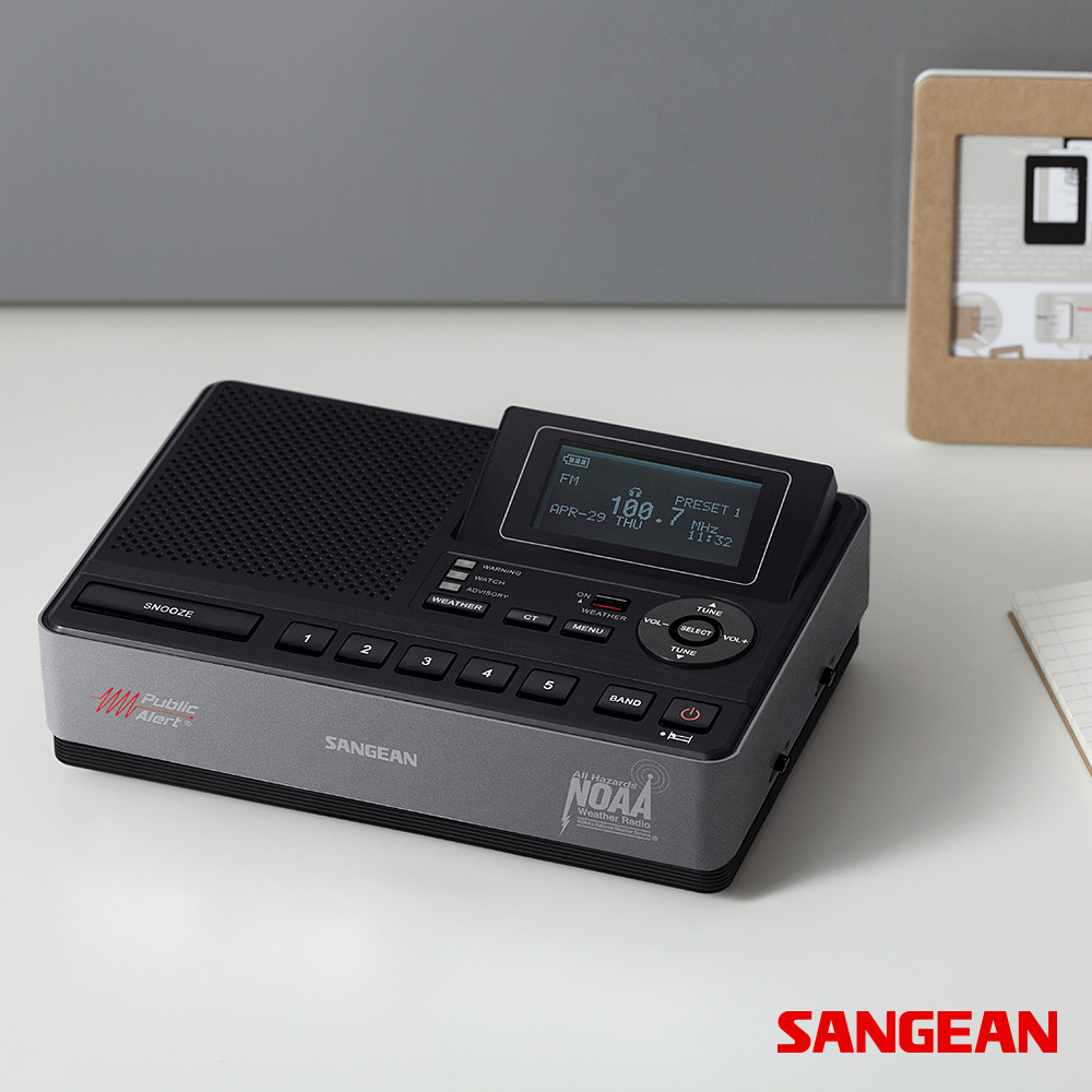 S.A.M.E. Table-Top Weather Hazard Alert Alarm Clock Radio | Sangean