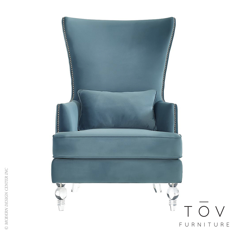 Bristol Sea Blue Velvet Tall Chair | Tov Furniture