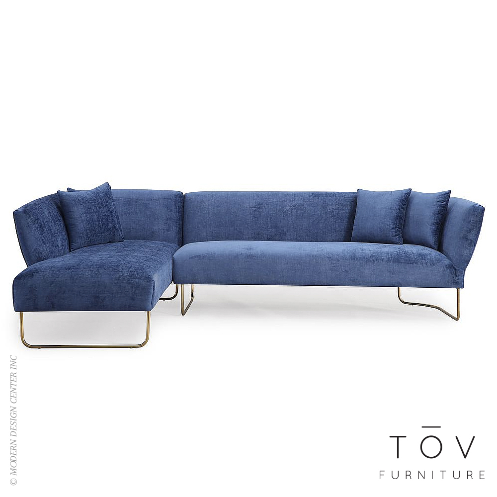 Caprice Navy Velvet LAF Sectional | Tov Furniture