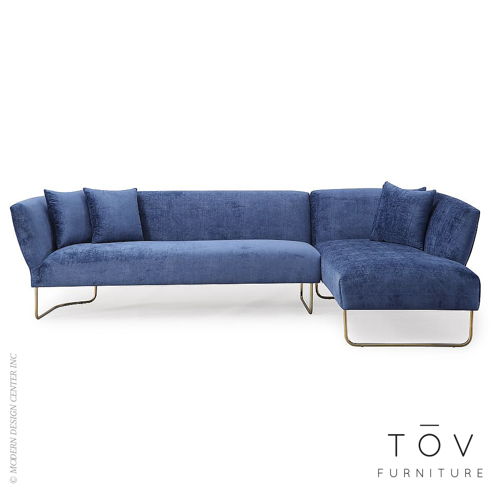 Caprice Navy Velvet RAF Sectional | Tov Furniture