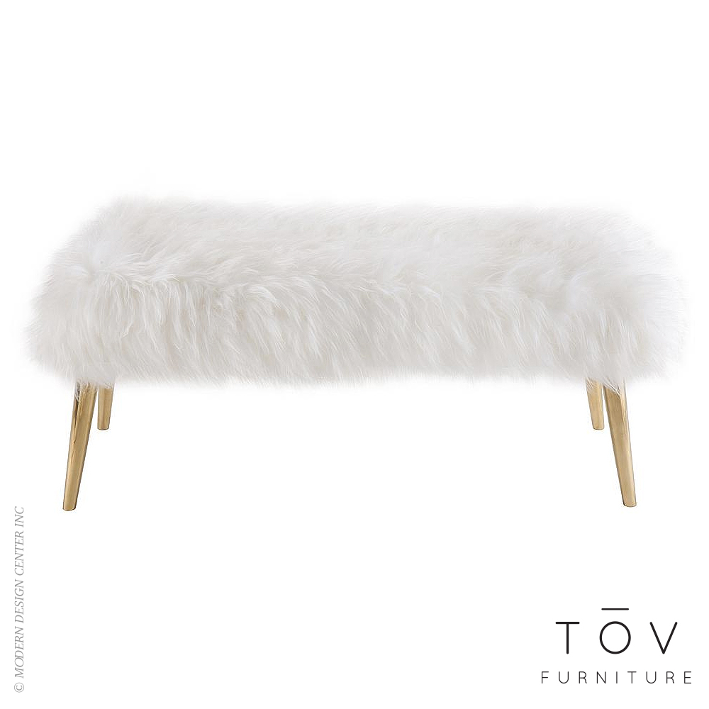 Churra White Sheepskin Bench | Tov Furniture