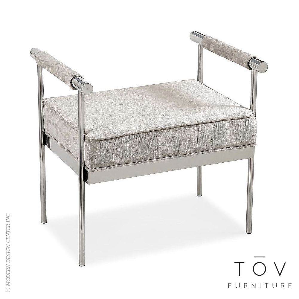 Diva Silver Textured Bench | Tov Furniture