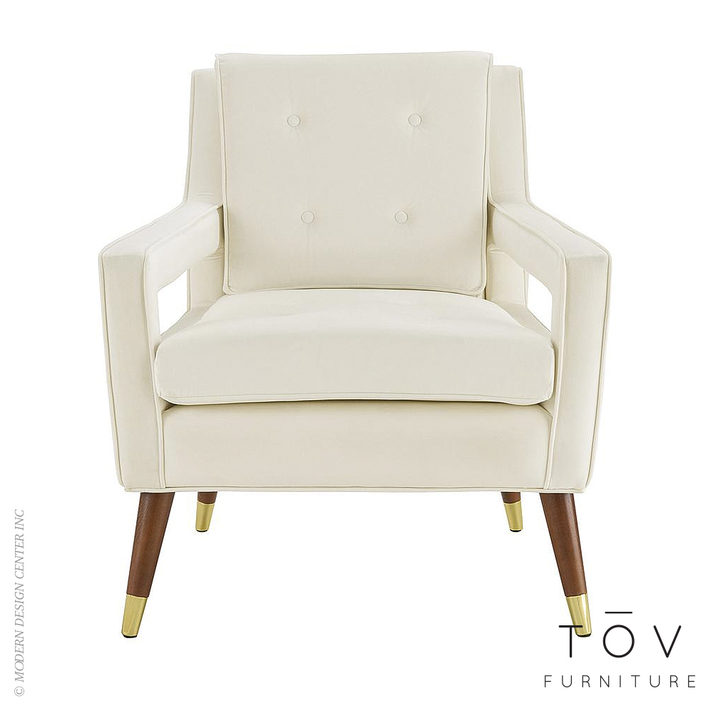 Draper Cream Velvet Chair | Tov Furniture