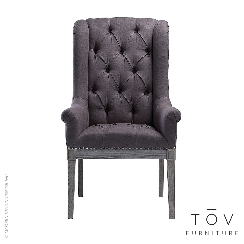 Addington Grey Linen Arm Chair | Tov Furniture