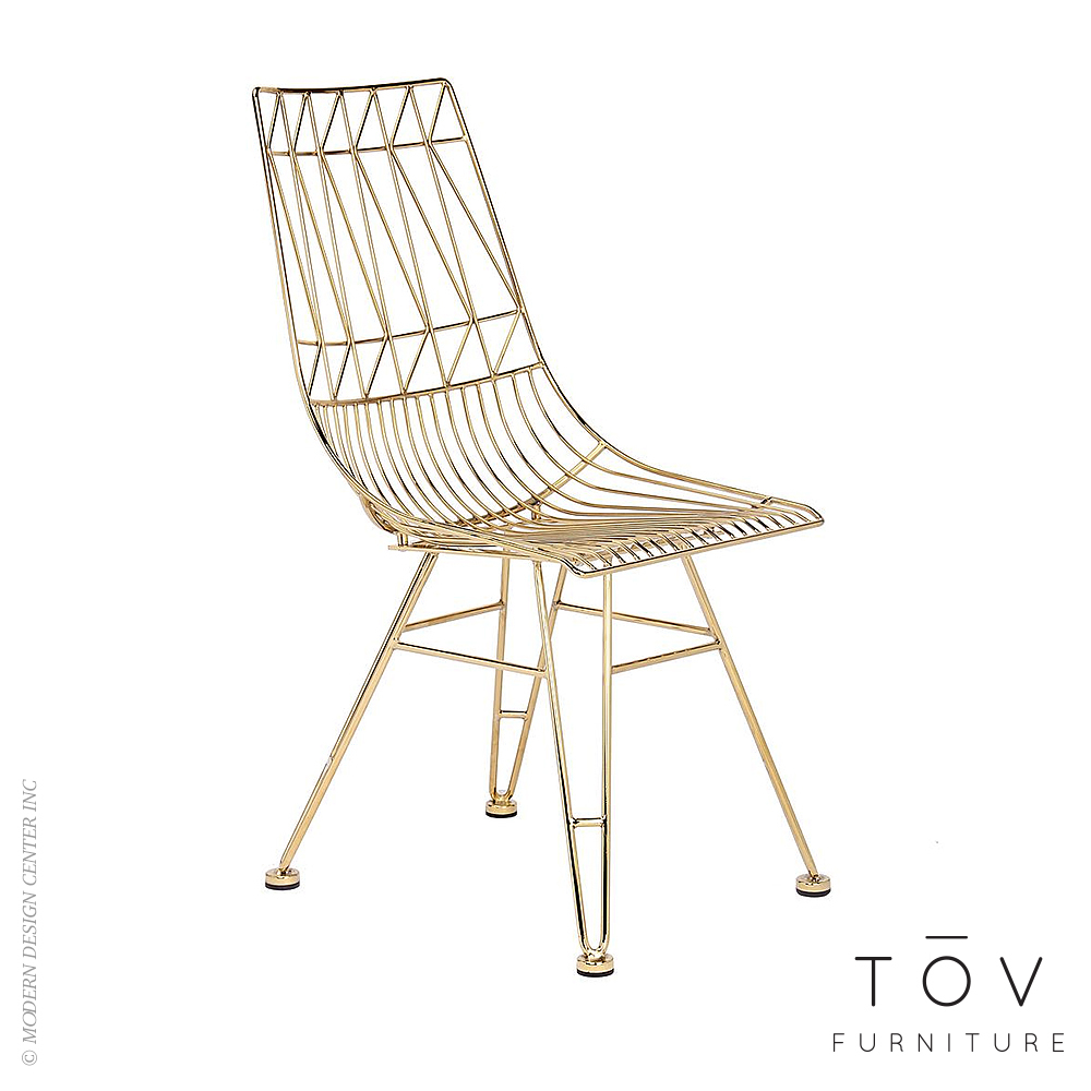 Allure Gold Steel Chair, set of 2 | Tov Furniture