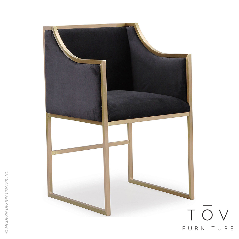 Atara Black Velvet Gold Chair | Tov Furniture