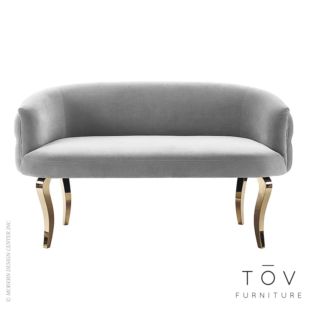 Adina Grey Velvet Loveseat with Gold Legs | Tov Furniture