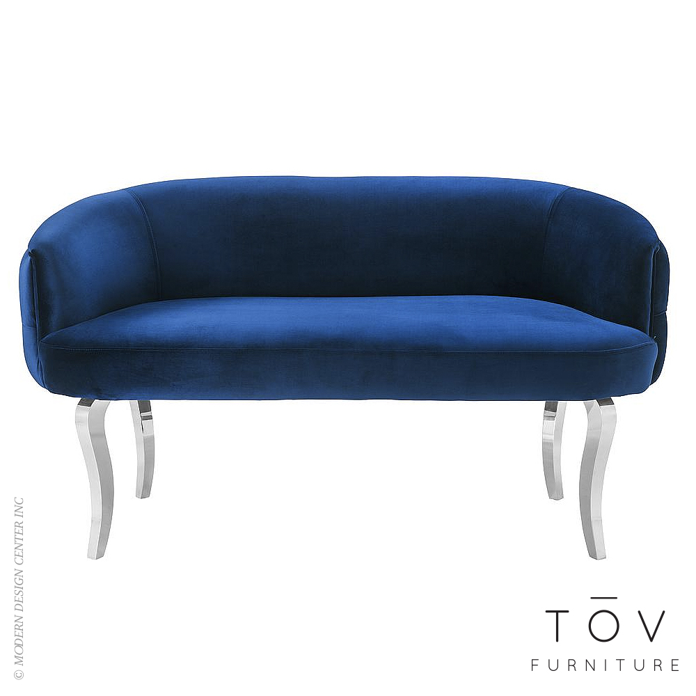 Adina Navy Velvet Loveseat with Silver Legs | Tov Furniture