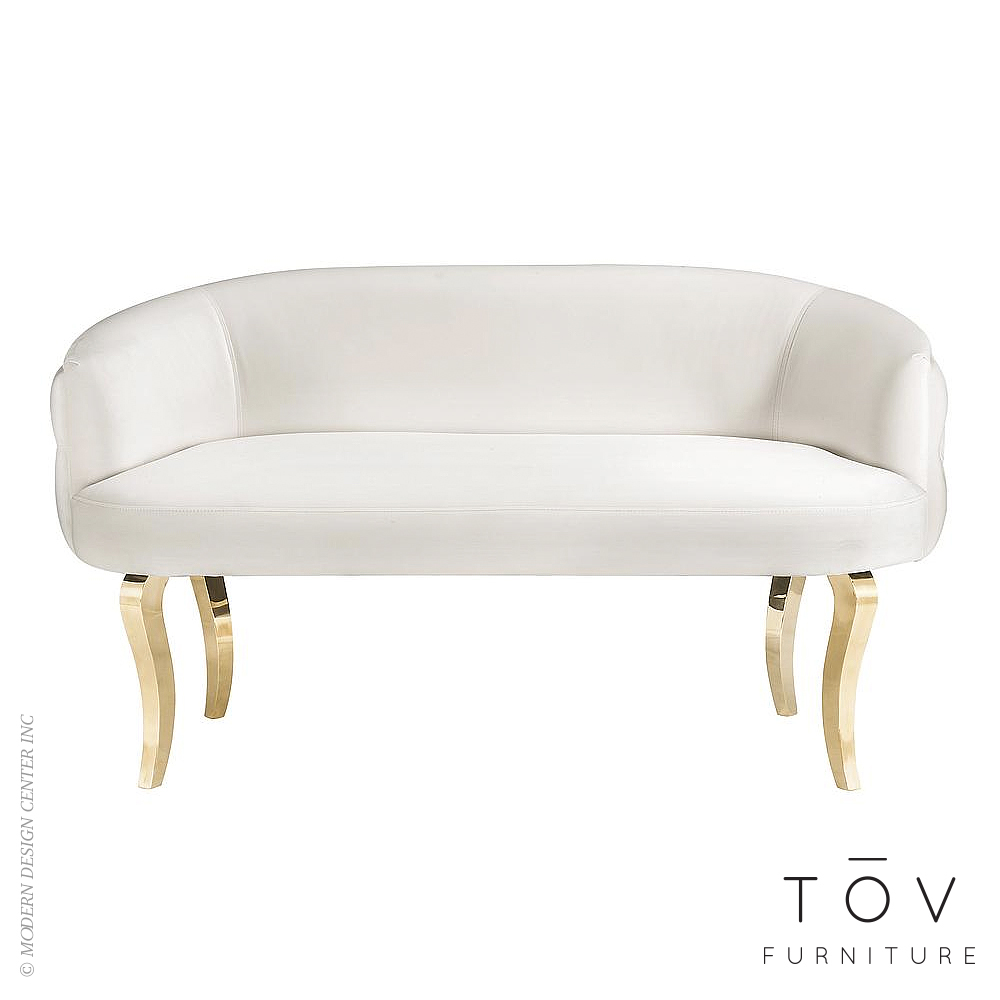 Adina White Velvet Loveseat with Gold Legs | Tov Furniture