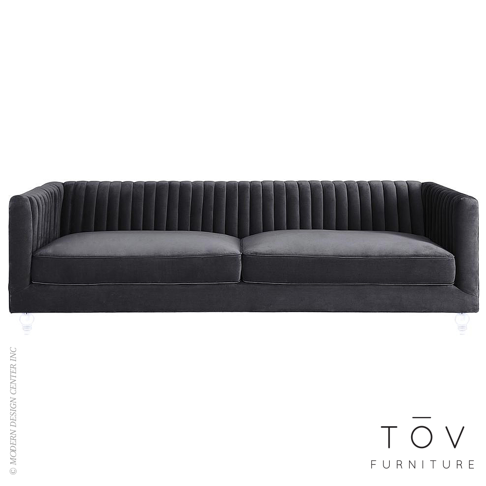 Aviator Grey Velvet Sofa | Tov Furniture
