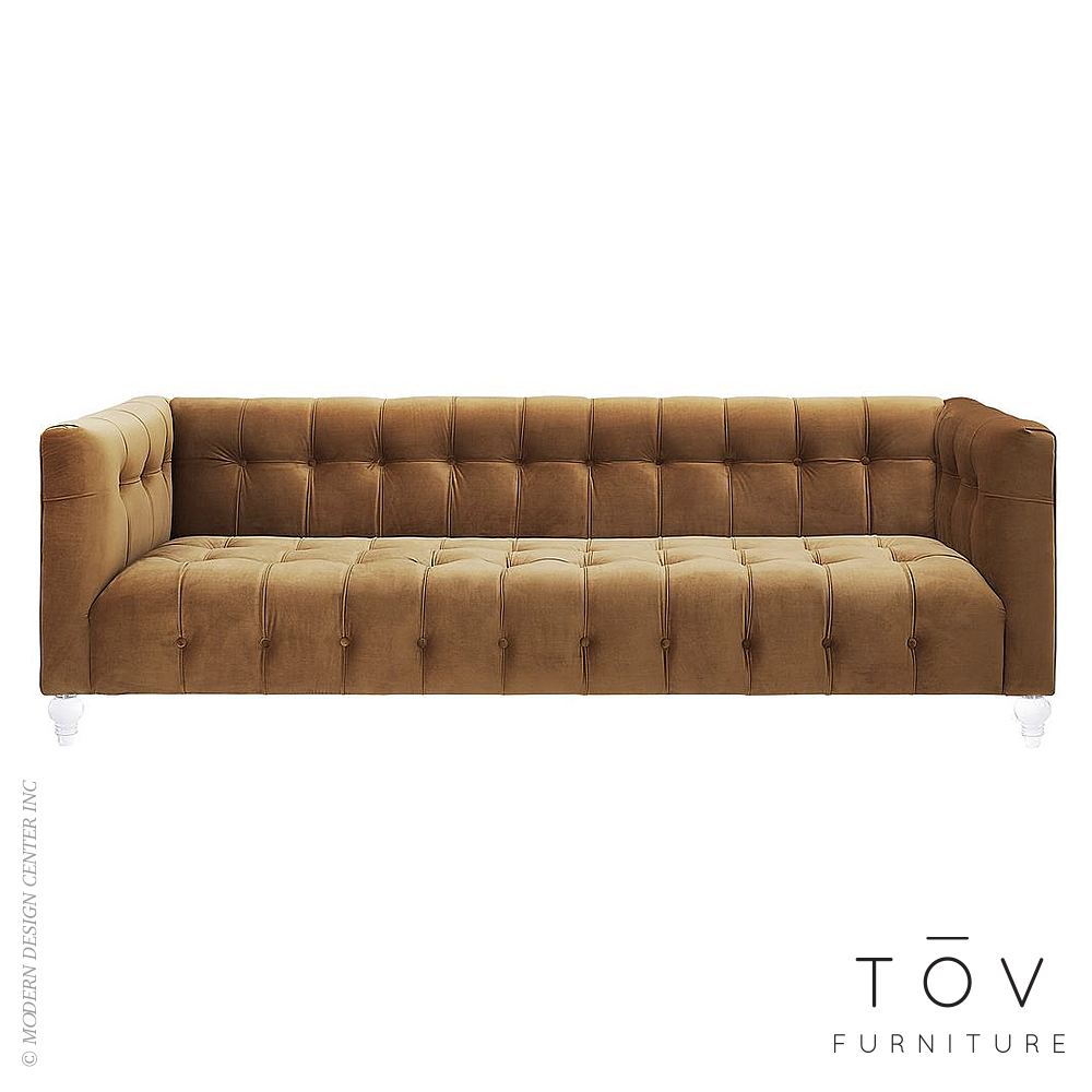 Bea Cognac Velvet Sofa | Tov Furniture