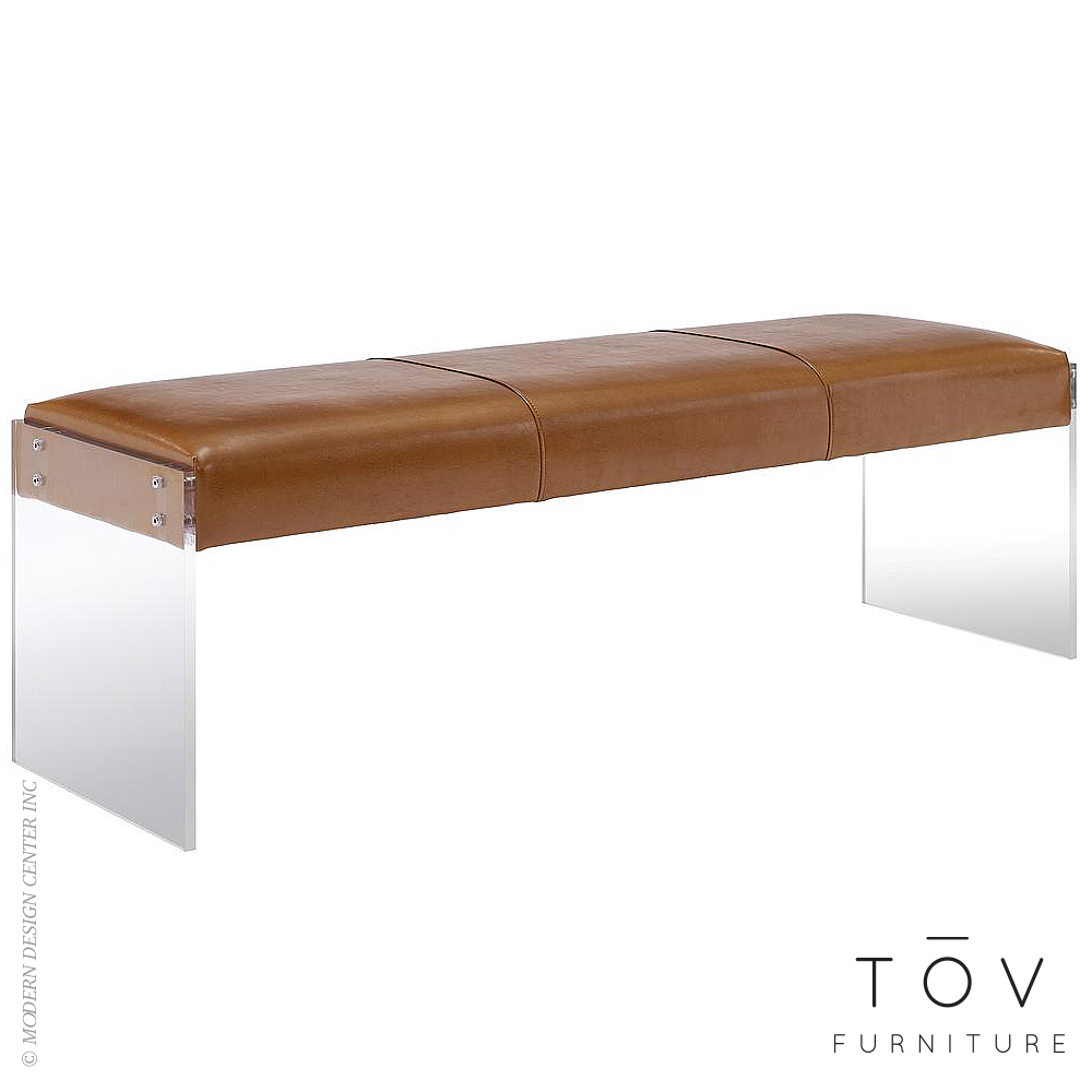 Envy Brown Leather Acrylic Bench | Tov Furniture