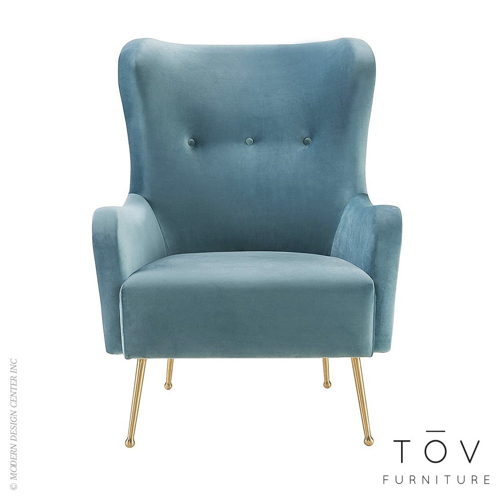Ethan Sea Blue Velvet Chair | Tov Furniture