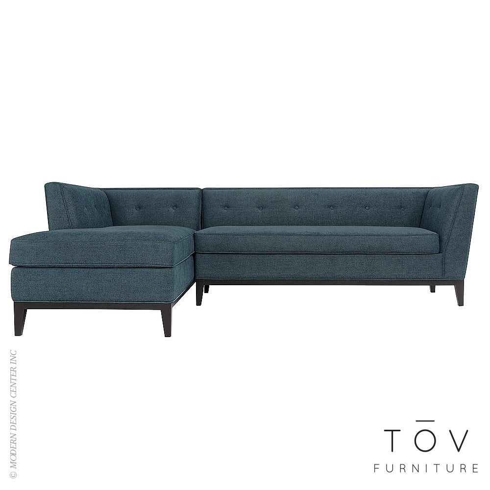 Jess Azure Textured Linen LAF Sectional | Tov Furniture