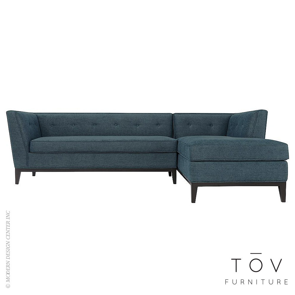 Jess Azure Textured Linen RAF Sectional | Tov Furniture