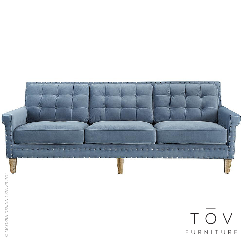 Light Blue Velvet Sofa