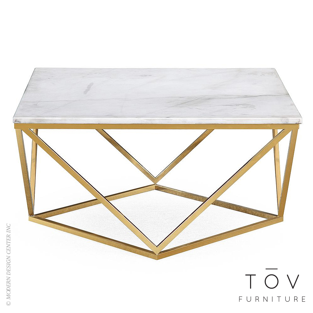 Leopold White Marble Cocktail Table | Tov Furniture