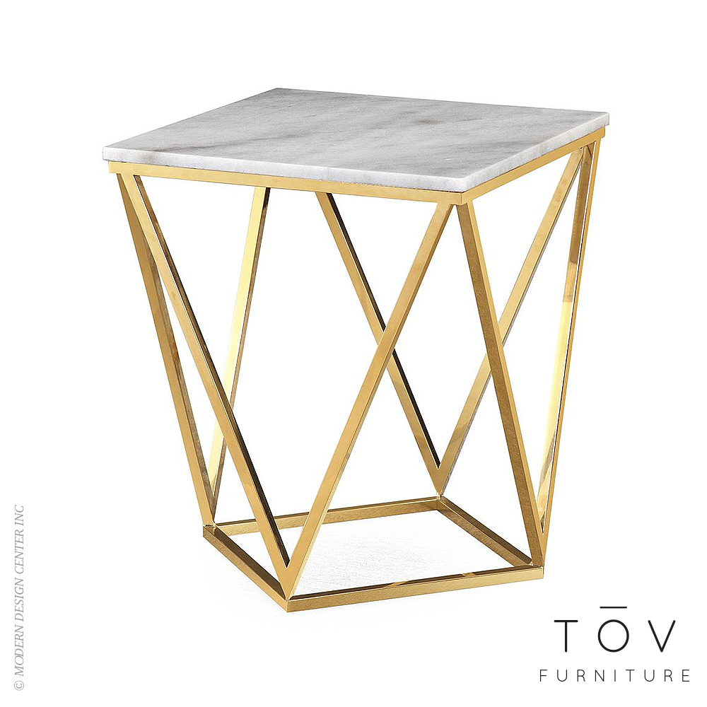 Leopold White Marble Side Table | Tov Furniture