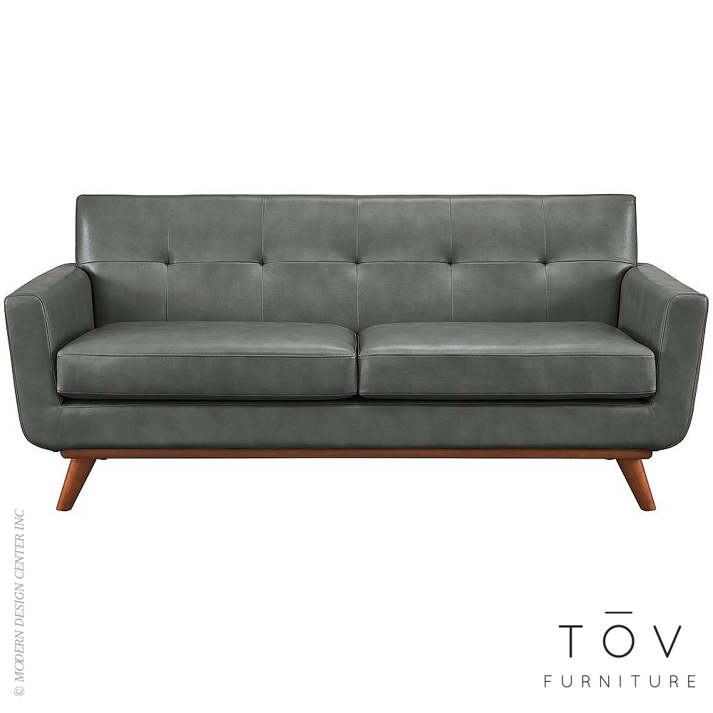 Lyon Smoke Grey Leather Loveseat | Tov Furniture