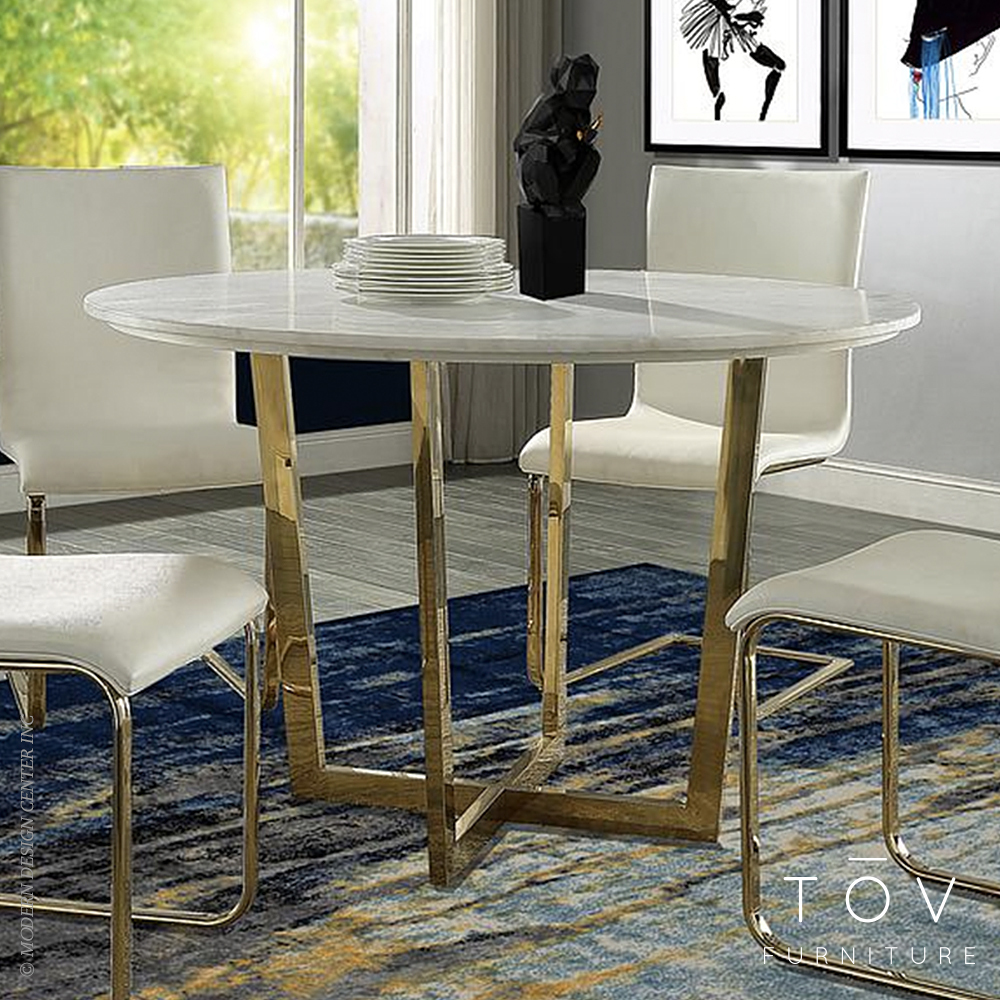 Maxim white marble dining table tov furniture tap to expand