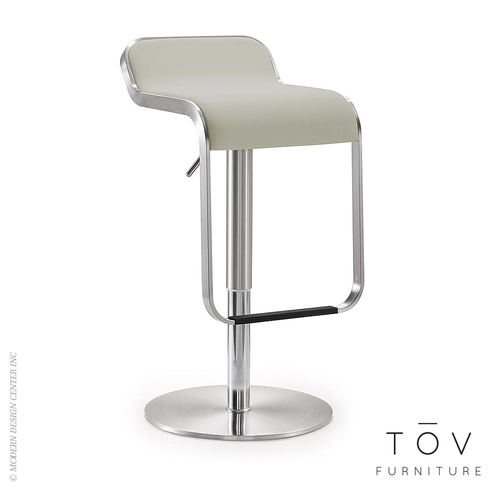 Napoli Light Grey Stainless Steel Barstool | Tov Furniture