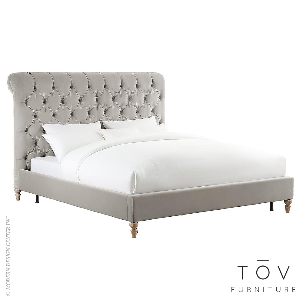 Putnam Grey Velvet Bed in Full | Tov Furniture